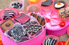 Belgian chocolate handmade chocolate candies in different shapes Royalty Free Stock Image