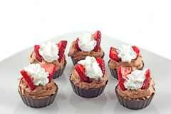 Belgian Chocolate Mousse Filled Cups Stock Image