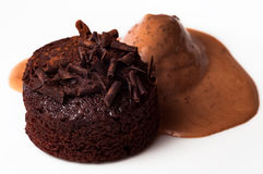 Belgian chocolate muffin cake and ice cream rich and delicious closeup snack Stock Photo