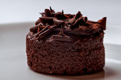 Belgian chocolate muffin cake rich and delicious closeup macro snack Stock Photos