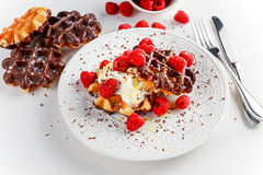 Belgian chocolate waffles with fresh raspberries, whipped cream and honey syrup.  Stock Photography