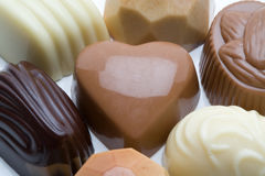 Belgian chocolates. Selection of tasty Belgian chocolates royalty free stock photography