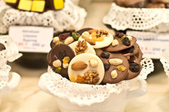 Belgian chocolates with nuts Royalty Free Stock Image