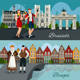 Belgian Cities Flat Style Compositions. Flat style compositions with architecture of belgian cities tourists and residents in national clothing isolated vector Stock Photo
