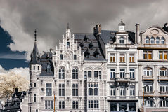 Belgian classic architecture view in infra-red colors. Belgium Royalty Free Stock Images