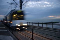 Belgian coastal tramway Stock Photography