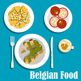 Belgian cuisine with eel fish and hot salad. Belgian cuisine flat icons with warm salad with fried potatoes, bacon and asparagus, fresh tomatoes stuffed shrimps Royalty Free Stock Photos