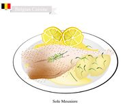 Sole Meuniere, A Popular Dish in Belgium. Belgian Cuisine, Illustration of Sole Meuniere or Traditional Sole Fish Fillet Fried in Butter and Served with Butter Stock Photos