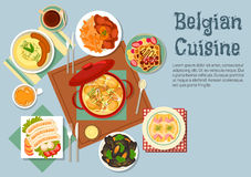 Belgian cuisine popular national dishes Stock Image