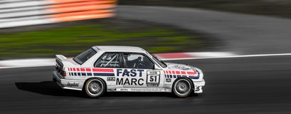 BMW M3 DTM 1987. In 1987 the Belgian Eric van de Poele took the champion's title in his BMW M3. After a thrilling fight between the BMW camp and the Ford stock image