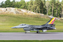 Belgian F-16 fighter aircraft just landed Stock Image