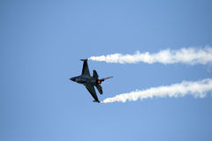 Belgian F16. An F16 of Belgian Air Force in the blu sky at the Roma International Air Show 2012 Stock Images