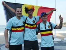 Belgian fans celebrate victory after Rio 2016 Olympic Cycling Road route competition of the Rio 2016 Olympic Games Stock Image