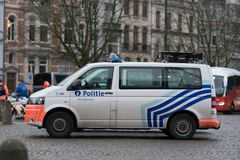 Belgian Federal Police van. Brussels, Belgium - December 7, 2017: Police van. The Politie, Federal Police, is the Law enforcement in Belgium Royalty Free Stock Photography