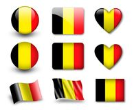 The Belgian flag. Set of icons and flags. glossy and matte on a white background Royalty Free Stock Images