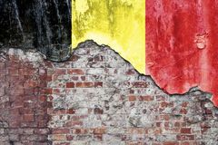 Belgian Flag On Grungy Wall Stock Image