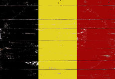 Belgian flag painted on a wooden board Royalty Free Stock Images