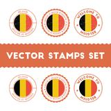 Belgian flag rubber stamps set. Royalty Free Stock Image