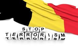Belgian flag and text stop terrorism. Stock Photography