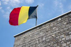 Belgian flag in top of citadel Dinant Stock Image