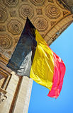 Belgian flag waving in Triumphal Arch Stock Images
