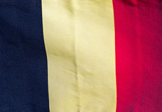 Belgian flag in the wind against a sky Stock Image
