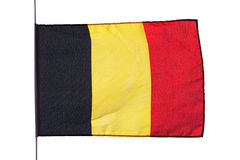 Belgian flag in the wind on a white background Royalty Free Stock Photo