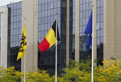 Belgian Flags Brussels. Belgian Flag at Center, Flanders Flag at Left and European Union at Right Stock Photography