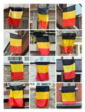 Belgian flags. Collage of Houses put out the flag of Belgium Royalty Free Stock Image