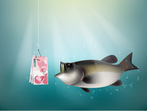 Belgian franc money paper on fish hook. Fishing using Belgian franc money cash as bait, Belgium investment risk concept idea Royalty Free Stock Photos