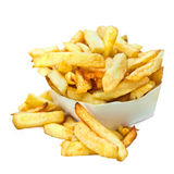 Belgian french fries. Crispy belgian frit  on white background Stock Photos