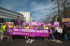 Belgian Gaia activists protest on the streets of Brussels Stock Photography