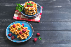 Belgian lush round waffles with fresh raspberries. Twigs and leaves mty in a blue ceramic plate and bowl on dark wooden background, empty space for your text Stock Image