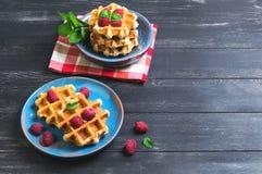 Belgian lush round waffles with fresh raspberries Stock Image