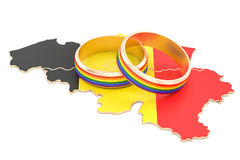 Belgian map with LGBT rainbow rings, 3D rendering Stock Images