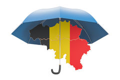 Belgian map under umbrella. Security and protect or insurance   Royalty Free Stock Images