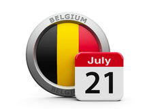 Belgian National Day. Emblem of Belgium with calendar button - The Twenty First of July - represents the Belgian National Day, three-dimensional rendering, 3D Royalty Free Stock Photography