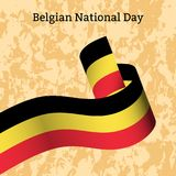 Belgian National Day. Ribbon with stripes, colors as a flag of Belgium. Background - grunge texture. Belgian National Day. 21 July. National holiday concept vector illustration