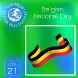 Belgian National Day. Ribbon with stripes, colors as a flag of Belgium. Series calendar. Holidays Around the World. Event of each. Belgian National Day. 21 July royalty free illustration