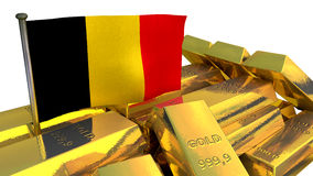 Belgian national economy concept with gold bullion Stock Photography