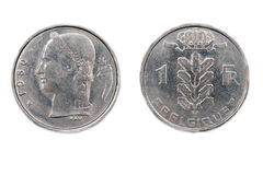 Belgian one Franc coin 1980 Stock Image