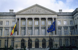 Belgian Parliament Building. The Belgian Parliament Building with Belgian and European Union flags stock images