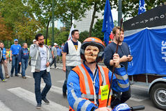 Belgian Police demonstrates against changes in pension regulations Stock Photo