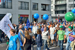 Belgian Police demonstrates against changes in pension regulations Royalty Free Stock Photo