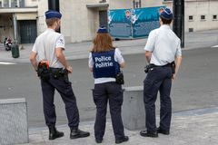 Belgian police officers on guard royalty free stock image