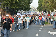 Belgian Police and trade-unions demonstrate against changes in pension regulations Royalty Free Stock Photos