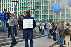 Belgian policemen express his protest against changes in pension laws Royalty Free Stock Image