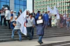 Belgian policemen express his protest against changes in pension laws Royalty Free Stock Images