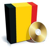 Belgian software box and CD. Belgian software box with national flag colors and CD Stock Photography