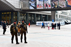 Belgian soldiers guarding European Parliament Stock Images